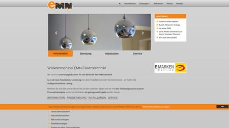 Website emn Elektrotechnik